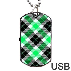 Smart Plaid Green Dog Tag USB Flash (Two Sides)