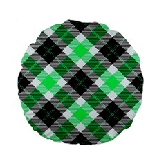 Smart Plaid Green Standard 15  Premium Flano Round Cushions