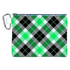 Smart Plaid Green Canvas Cosmetic Bag (XXL)