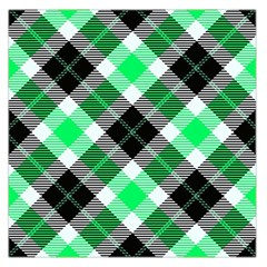 Smart Plaid Green Large Satin Scarf (square)