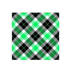 Smart Plaid Green Satin Bandana Scarf