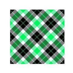 Smart Plaid Green Small Satin Scarf (Square)