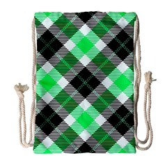Smart Plaid Green Drawstring Bag (Large)