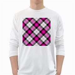 Smart Plaid Hot Pink White Long Sleeve T-Shirts