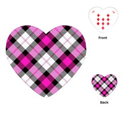 Smart Plaid Hot Pink Playing Cards (Heart)