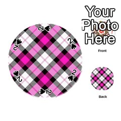 Smart Plaid Hot Pink Playing Cards 54 (round)