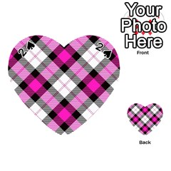Smart Plaid Hot Pink Playing Cards 54 (heart)