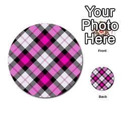 Smart Plaid Hot Pink Multi Purpose Cards (round)