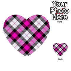 Smart Plaid Hot Pink Multi Purpose Cards (heart)