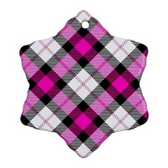 Smart Plaid Hot Pink Ornament (Snowflake)