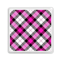 Smart Plaid Hot Pink Memory Card Reader (Square)