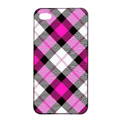 Smart Plaid Hot Pink Apple iPhone 4/4s Seamless Case (Black)