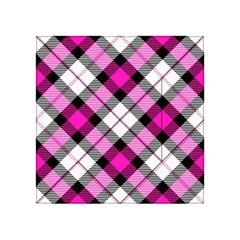 Smart Plaid Hot Pink Acrylic Tangram Puzzle (4  x 4 )