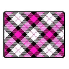 Smart Plaid Hot Pink Double Sided Fleece Blanket (small)
