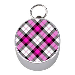 Smart Plaid Hot Pink Mini Silver Compasses