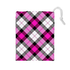 Smart Plaid Hot Pink Drawstring Pouches (large)