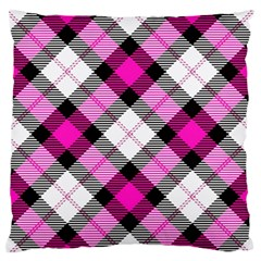 Smart Plaid Hot Pink Standard Flano Cushion Cases (one Side)