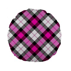 Smart Plaid Hot Pink Standard 15  Premium Flano Round Cushions