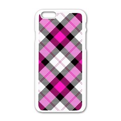 Smart Plaid Hot Pink Apple Iphone 6 White Enamel Case