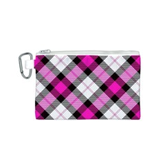 Smart Plaid Hot Pink Canvas Cosmetic Bag (S)