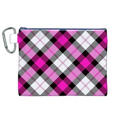 Smart Plaid Hot Pink Canvas Cosmetic Bag (XL)