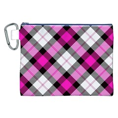 Smart Plaid Hot Pink Canvas Cosmetic Bag (XXL)