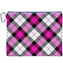 Smart Plaid Hot Pink Canvas Cosmetic Bag (xxxl)