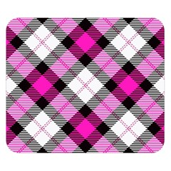 Smart Plaid Hot Pink Double Sided Flano Blanket (small)