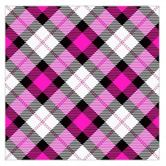 Smart Plaid Hot Pink Large Satin Scarf (Square)