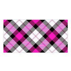 Smart Plaid Hot Pink Satin Shawl