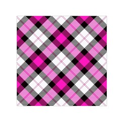 Smart Plaid Hot Pink Small Satin Scarf (Square)