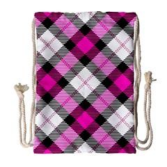 Smart Plaid Hot Pink Drawstring Bag (Large)