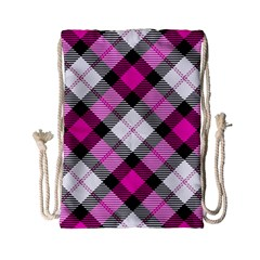Smart Plaid Hot Pink Drawstring Bag (small)