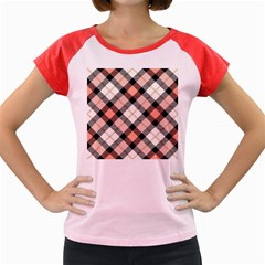 Smart Plaid Peach Women s Cap Sleeve T Shirt
