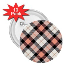 Smart Plaid Peach 2 25  Buttons (10 Pack)