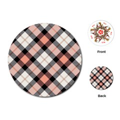 Smart Plaid Peach Playing Cards (Round)
