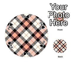 Smart Plaid Peach Playing Cards 54 (Round)