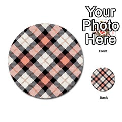 Smart Plaid Peach Multi-purpose Cards (Round)