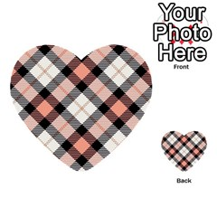 Smart Plaid Peach Multi Purpose Cards (heart)