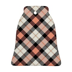 Smart Plaid Peach Bell Ornament (2 Sides)