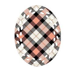 Smart Plaid Peach Oval Filigree Ornament (2-Side)