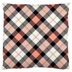 Smart Plaid Peach Large Flano Cushion Cases (Two Sides)