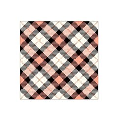 Smart Plaid Peach Satin Bandana Scarf