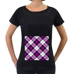 Smart Plaid Purple Women s Loose-Fit T-Shirt (Black)