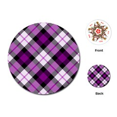 Smart Plaid Purple Playing Cards (Round)