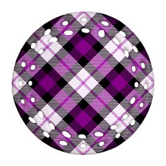 Smart Plaid Purple Ornament (Round Filigree)