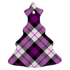 Smart Plaid Purple Christmas Tree Ornament (2 Sides)