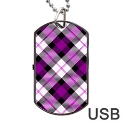 Smart Plaid Purple Dog Tag USB Flash (One Side)