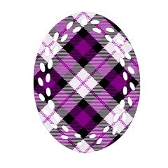 Smart Plaid Purple Oval Filigree Ornament (2 Side)