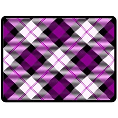 Smart Plaid Purple Double Sided Fleece Blanket (Large)